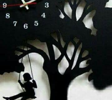 TREE DESIGN decorated WALL CLOCK