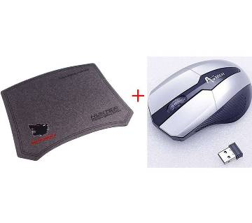 A.Tech Wireless Mouse + Gaming Mouse Pad Combo