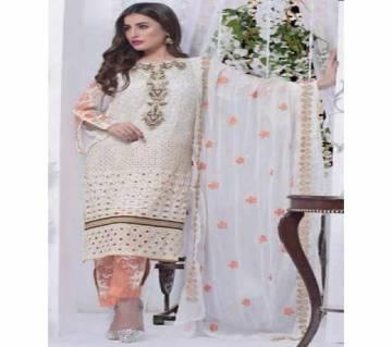 Pakistani Unstiched Chiffon Georgette Embroidery Three Piece