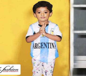 World Cup Argentina Home Jersey For kids 2018 - Half Sleeve (Copy)