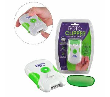 Roto Clipper Electric Nail Trimmer and Nail File, White & Green