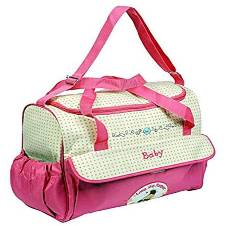 Multifunction Baby Diaper Bag - Pink and Brown