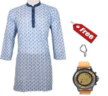 Printed Cotton Punjabi with Free Gents Watch