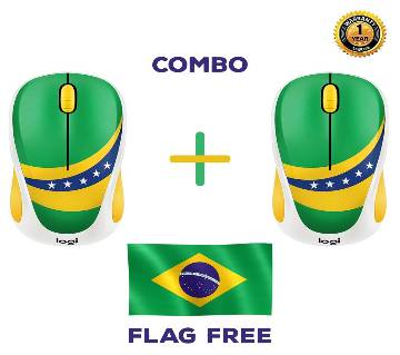 Buy 2 Logitech M238 - Brazil Wireless Mouse Get Free 5 Fit / 3 Fit Flag