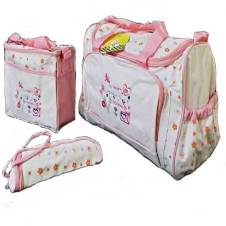 Multi-functional Mother Bag - Pink and White