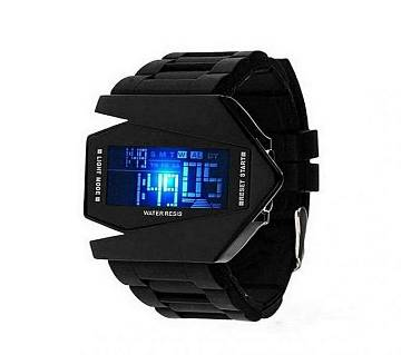 Black Stainless Steel Digital Watch for kids