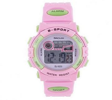 BJ-623 Light Pink Rubber Digital Watch for Girls