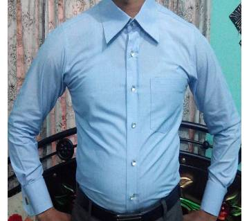 Sky Blue Full Sleeve Chinigura Cotton Shirt