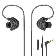 UiiSii CM5 Sports Headphones with Mic and Stereo Bass Earbuds -Black