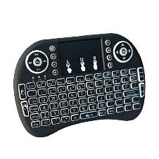 i8-B Wireless Backlit Mini Keyboard With Touch-pad - Black