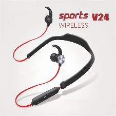 Wireless Bluetooth Headset  Sports-V24 -Red& Black