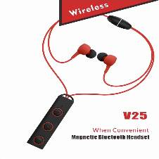 Wireless Bluetooth Headset  Sports-V25 -Red& Black