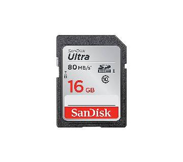 Sandisk Class 10 SDHC UHS-I Up to 80MB/s Memory Card 16GB