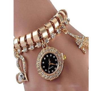 Stainless Steel Analog Watch for Women - Golden & Black