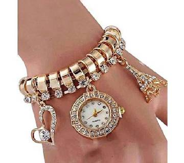 Stainless Steel Analog Watch for Women - Golden & White
