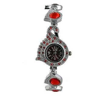 Silver Stainless Steel Bracelet Watch- Red