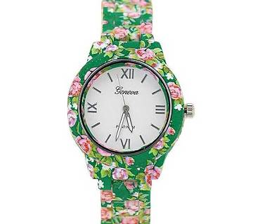 Simulated-Ceramics Analog Watch for Women - Green