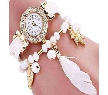 Artificial Leather Analog Watch for Women - White