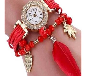 Artificial Leather Analog Watch for Women - Red