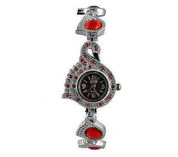 Silver Stainless Steel Bracelet Watch- Red