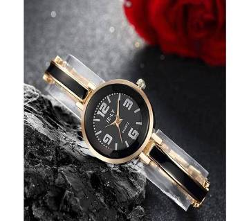 IE-LY Stainless Steel Analog Watch for Women- Black & Golden