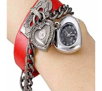 Analog Bracelet Watch for Women- Silver & Red