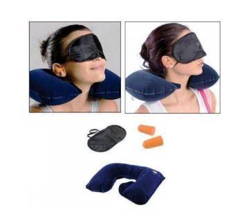 3 in 1 Travel Neck Pillow Set - Black