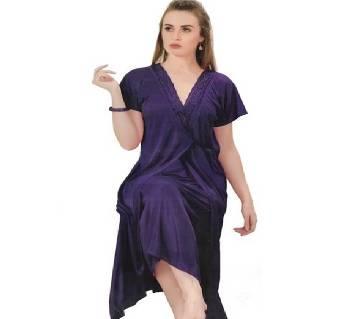 Salmon Silk Night Dress for Women- Blue
