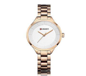 CURREN 9015 Black Stainless Steel Watch For Women
