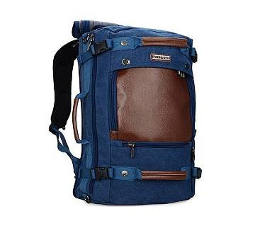 Blue and Brown Canvas Backpack for Men