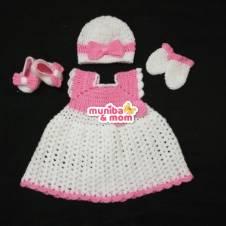 Newborn Girl Dress Set - Wool Yearn made