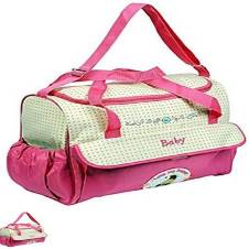 Multi function Baby Diaper Bag - Pink and Brown