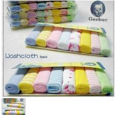 Gerber baby wash cloth - 8pcs