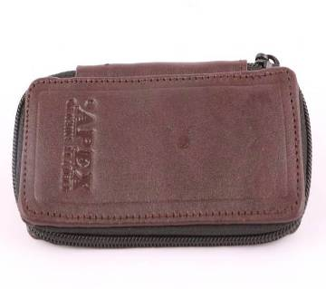 Key ring leather wallet chocolate