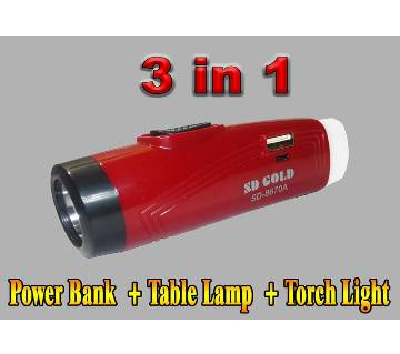 Rechargeable LED Flash SD 8670 Torch Light With USB Power Bank and Table Lamp Use 18650 Battery mini light