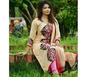 Unstitched Block Printed Rajdhani Cotton Replica Salwar Kameez - Copy