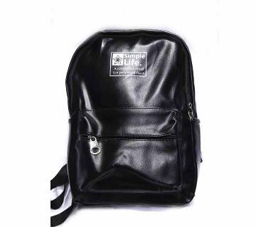 Artificial Leather Black Backpack