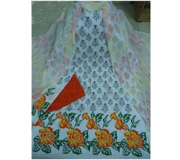 Unstitched block printed cotton three-piece