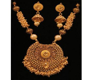 Gold Plated Antic Necklace With Ear Ring