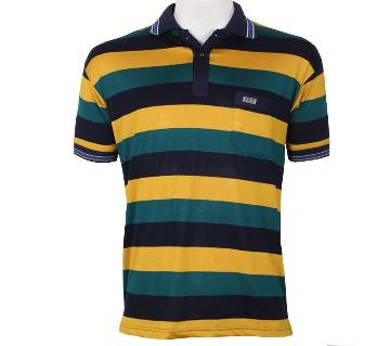 Half Sleeve Cotton Striped Polo Shirt For Men