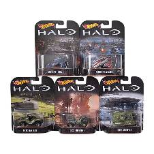 Hot Wheels Combo of 5 Metal Retro Entertainment Halo Toy Car - Multi Color