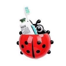 Lady Bug প্লাস্টিক টুথব্রাশ হোল্ডার - Red and Black