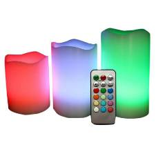 Pack of 3 Remote Controlled Multi Color Candles