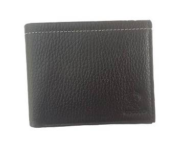 Black Leather Wallet for Men with Button Coin Pocket, Card Holders, ID Window