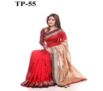 Red and Golden Cotton & Silk Saree