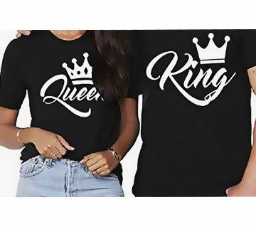 Matching King and Queen Couple Cotton T-Shirt