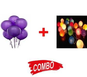 Balloon (100 pcs) + Fairy Lights of Cotton Ball Lights Combo Offer