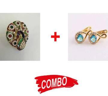 Golden and Sky Blue  Diamond Cut Earring For Women + Finger Ring for Women