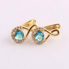 Golden and Sky Blue  Diamond Cut Earring For Women