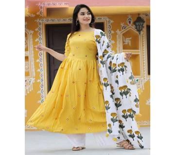 Unstitched SBlock Printed Cotton Salwar Kameez - Copy